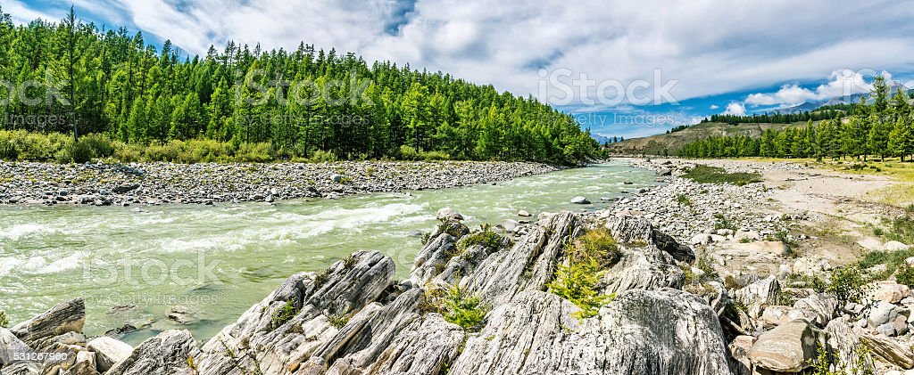 Irkut river flows through picturesque Tunka Valley stock photo