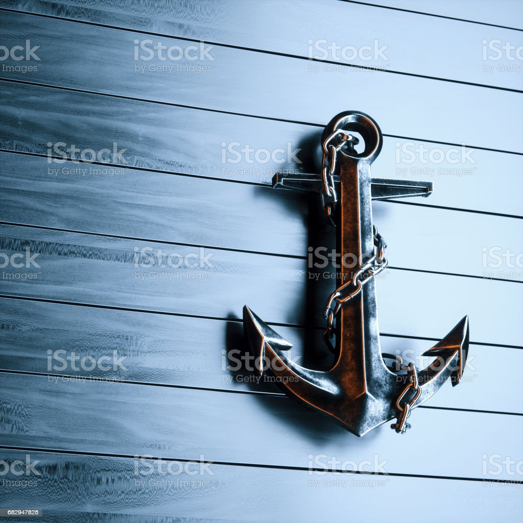 Iron anchor on a background of black painted wood 3d render royalty-free stock photo