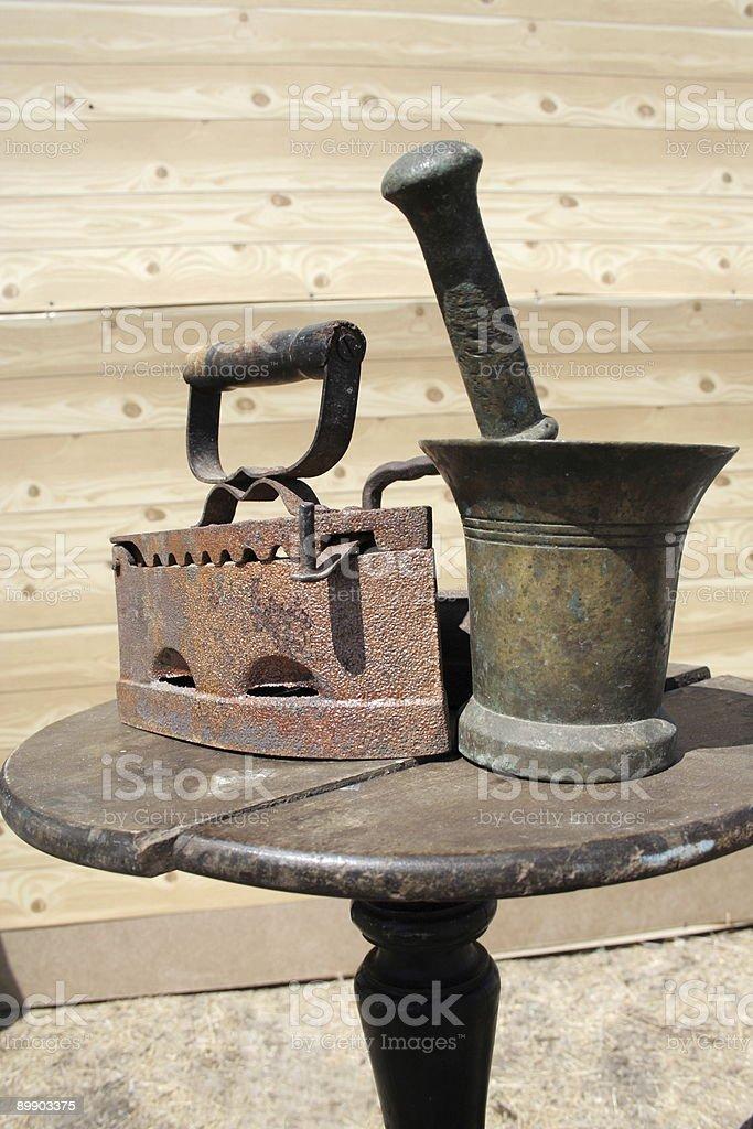 Iron and mortar. royalty-free stock photo