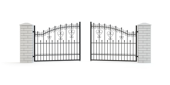 istock Iron and ornamental gate - isloated on white 1167570851