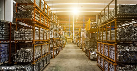 istock iron and steel material storage 912842784