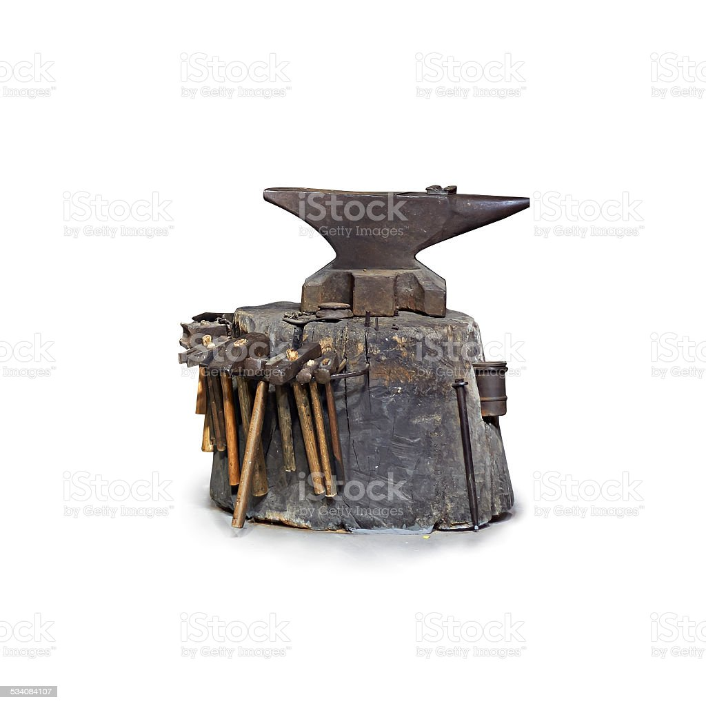 Iron anvil isolated on white stock photo