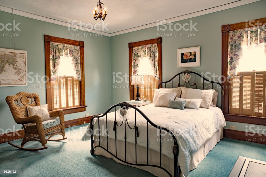 Iron Bed In Teal Bedroom Od Old Victorian Home Stock Photo Download Image Now Istock