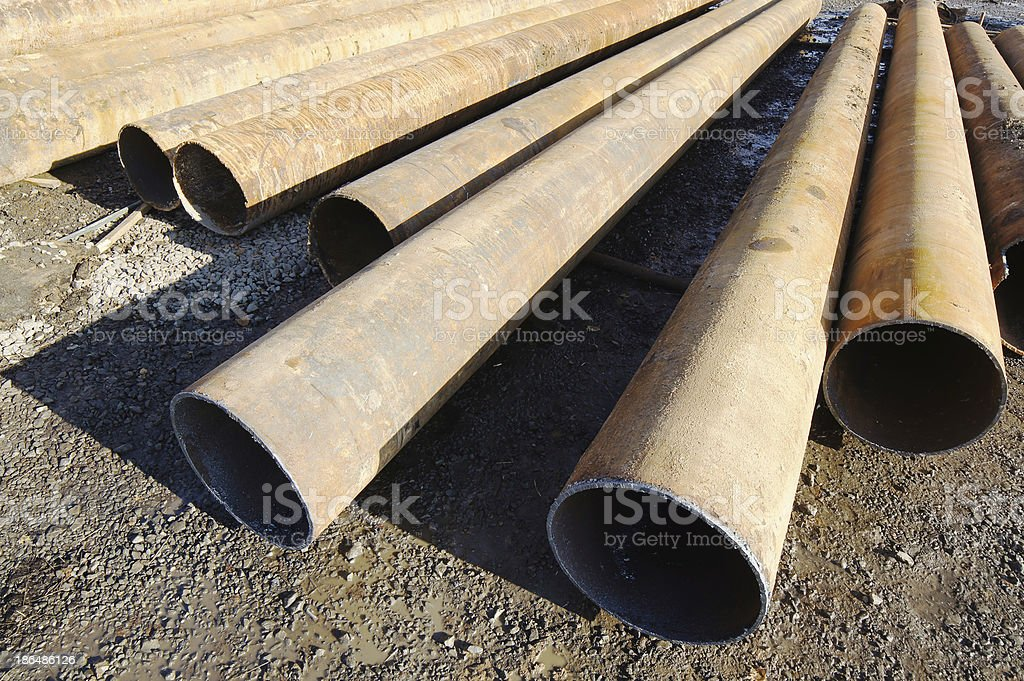 Iron big-diameter pipes for construction royalty-free stock photo