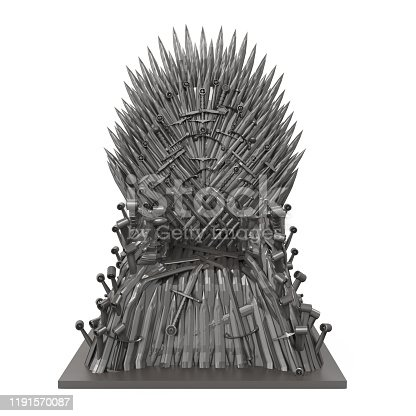 Iron Blade Throne Chair isolated on white background. 3D render