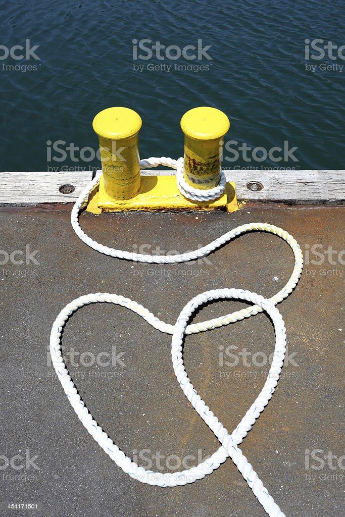 iron bollard at a harbor royalty-free stock photo