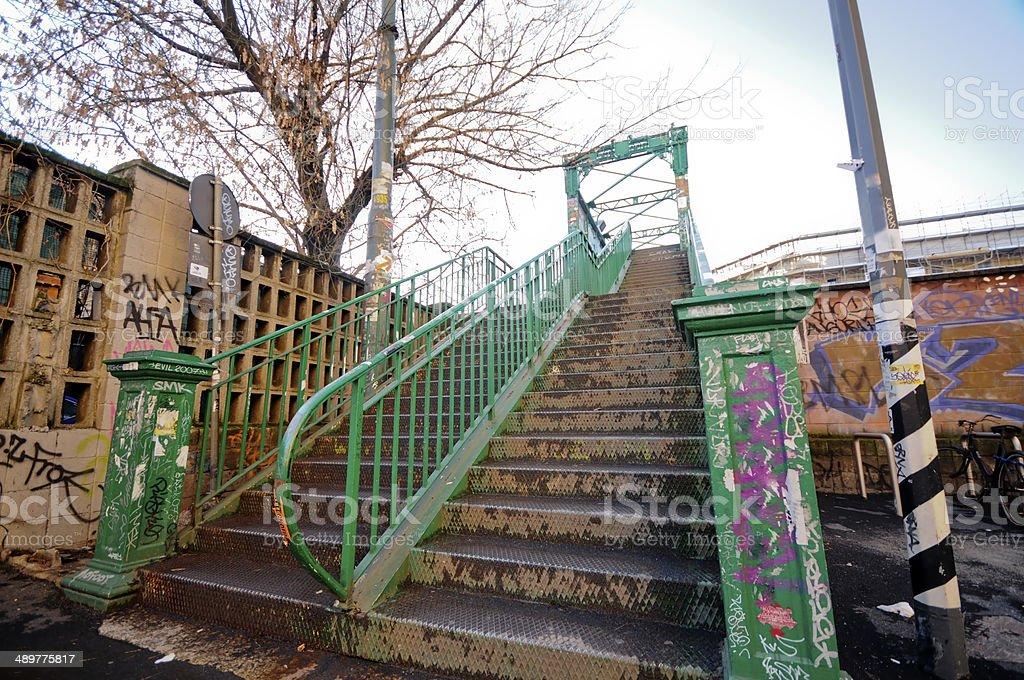 Iron Bridge on the railway in Milan royalty-free stock photo