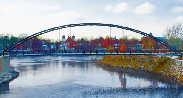 Iron Bridge over the Eau Claire river-Wisconsin Iron Bridge over the Eau Claire river-Wisconsin wisconsin stock pictures, royalty-free photos & images