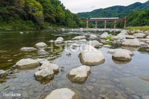 Train crossing the Arakawa iron bridge