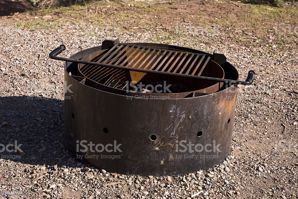 Iron Campground Fire Pit Barbeque royalty-free stock photo