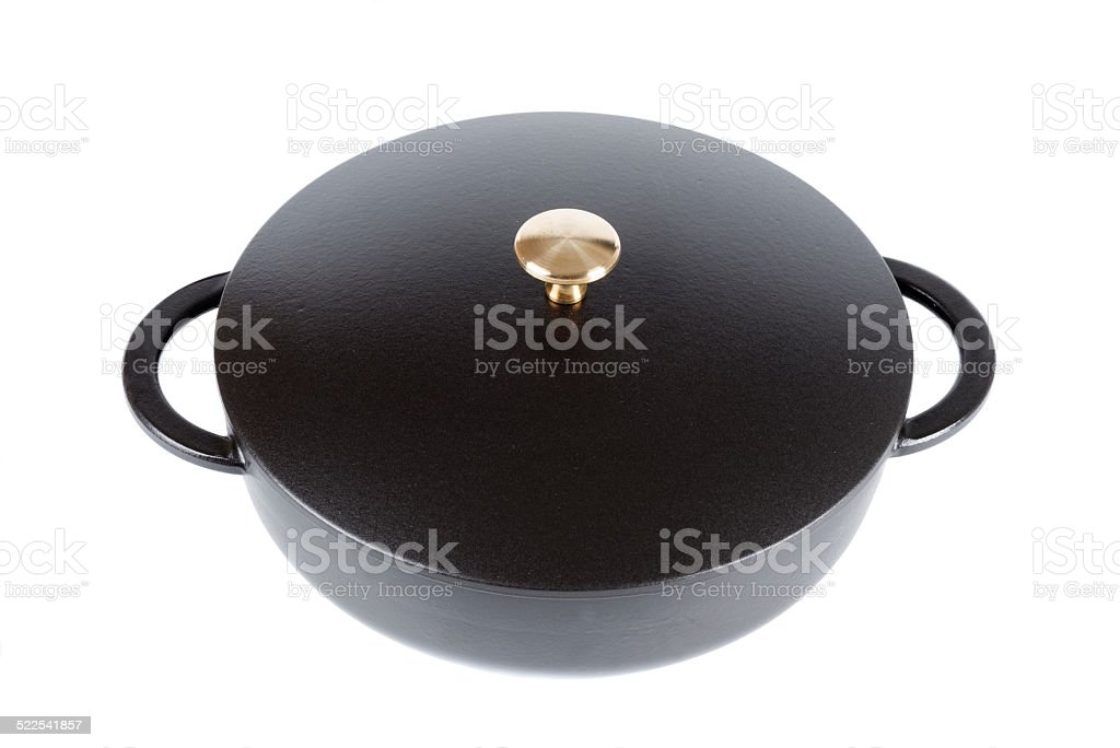 Iron Cast Fry Pan With Cover Close Up Stock Photo - Download