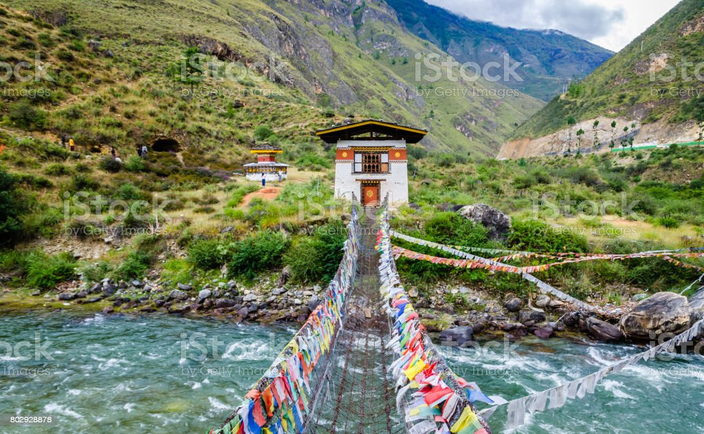 Iron Chain Bridge of Tachog Lhakhang Monastery, Paro River, Bhutan stock photo