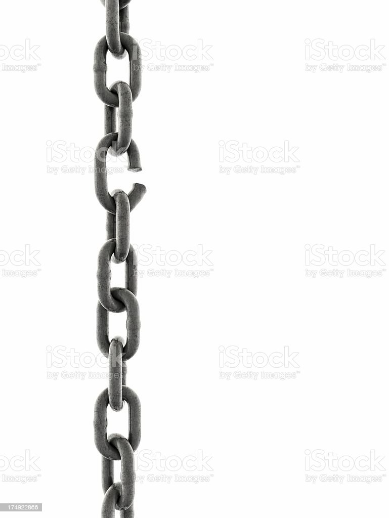Iron Chain with one link about to break stock photo