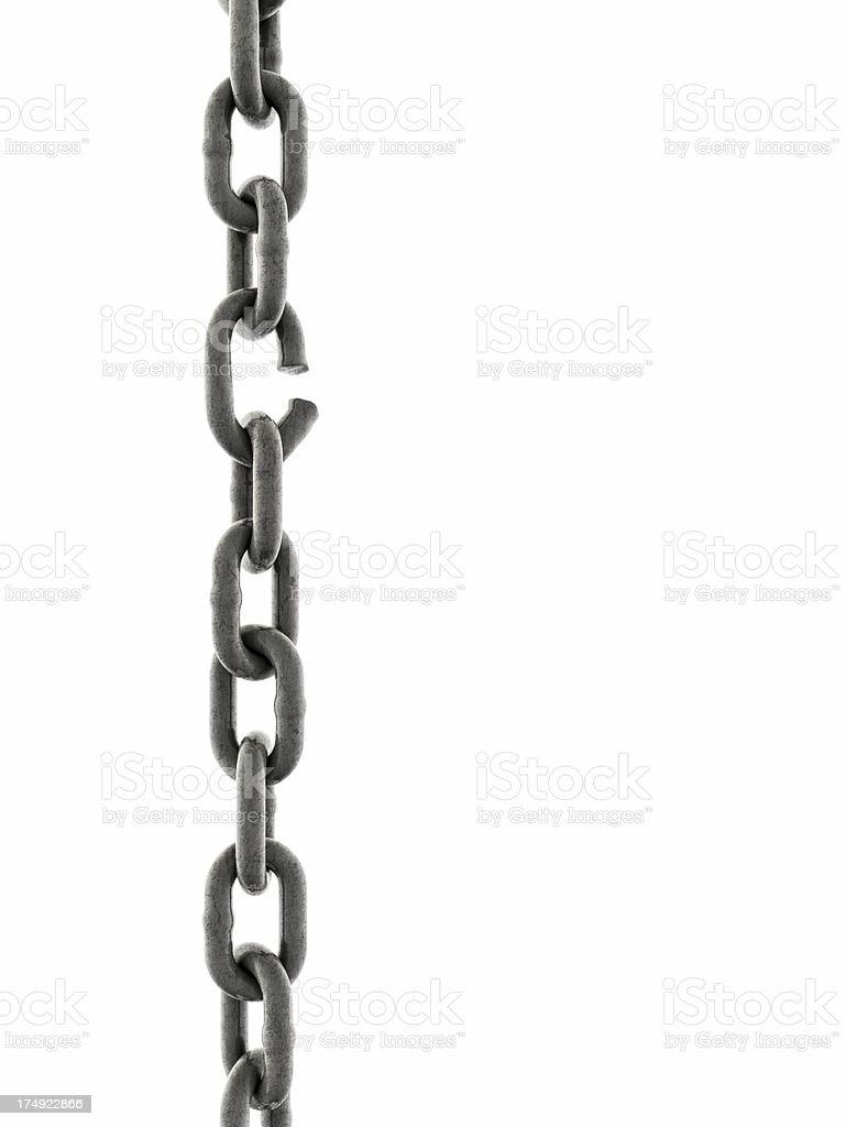 Plancha cadena con un enlace a punto de ruptura - foto de stock