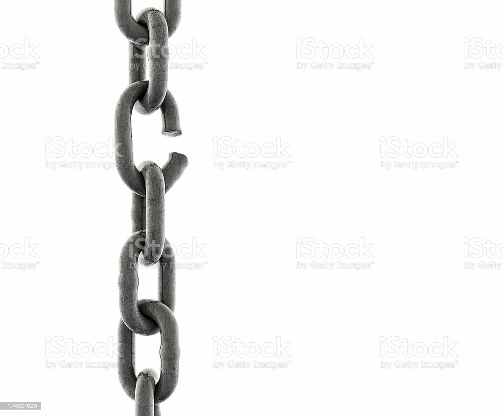 Iron Chain with one Link about to break (close-up) stock photo