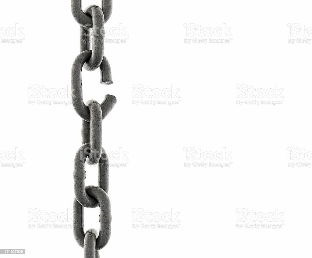 Plancha de la cadena con un enlace por romper (close-up - foto de stock
