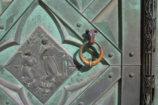 Iron door in old Krakow.