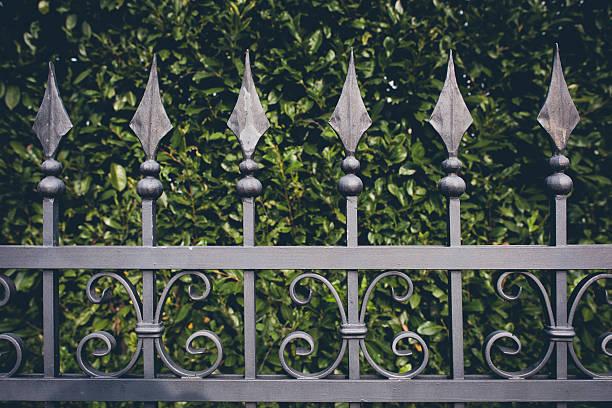 iron zaun mit grünen blätter hintergrund - alu zaun stock-fotos und bilder