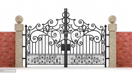 Black ornamented iron gate with walls isolated on white. Clipping path included.