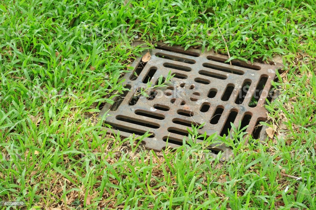 Iron Grate Of Water Drain In Grass Garden Field Royalty Free Stock Photo