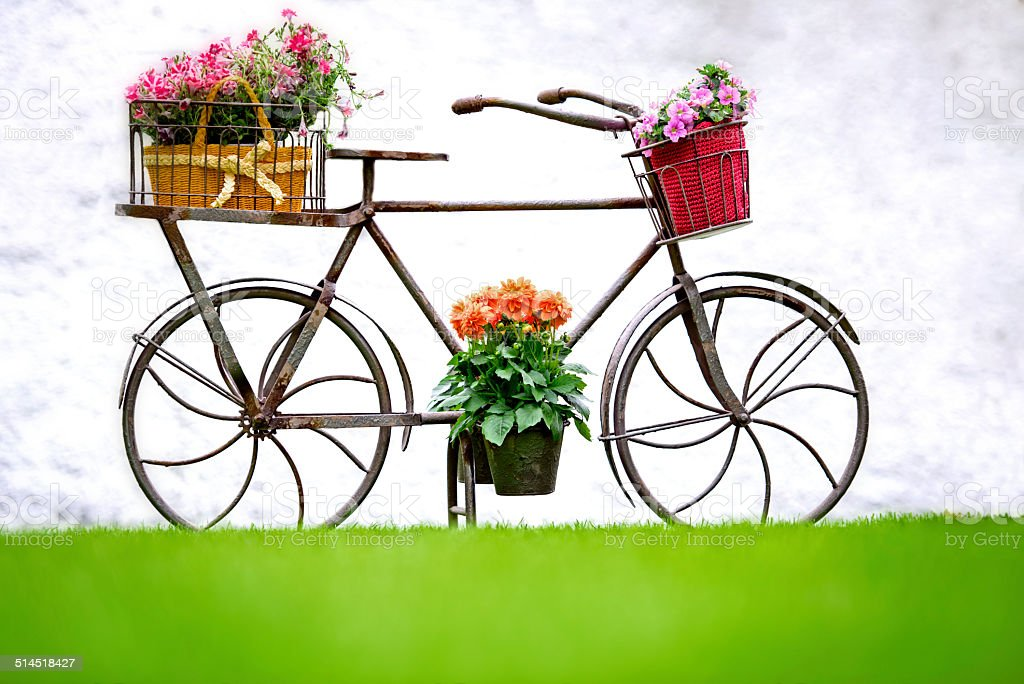 Iron Hand Made Bicycle With Flowers stock photo