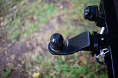 istock iron hitch for a caravan on the rear bumper of the car 1279865425