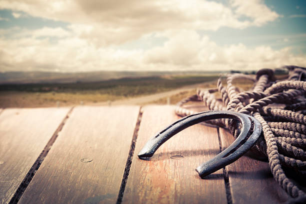 iron horseshoe on a vintage background - wild west stock photos and pictures