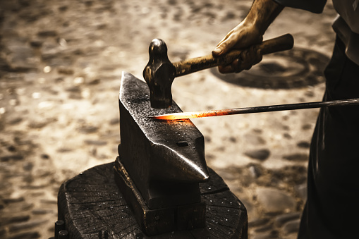 547224670 istock photo Iron incandescent in an old metal forge 1134120961
