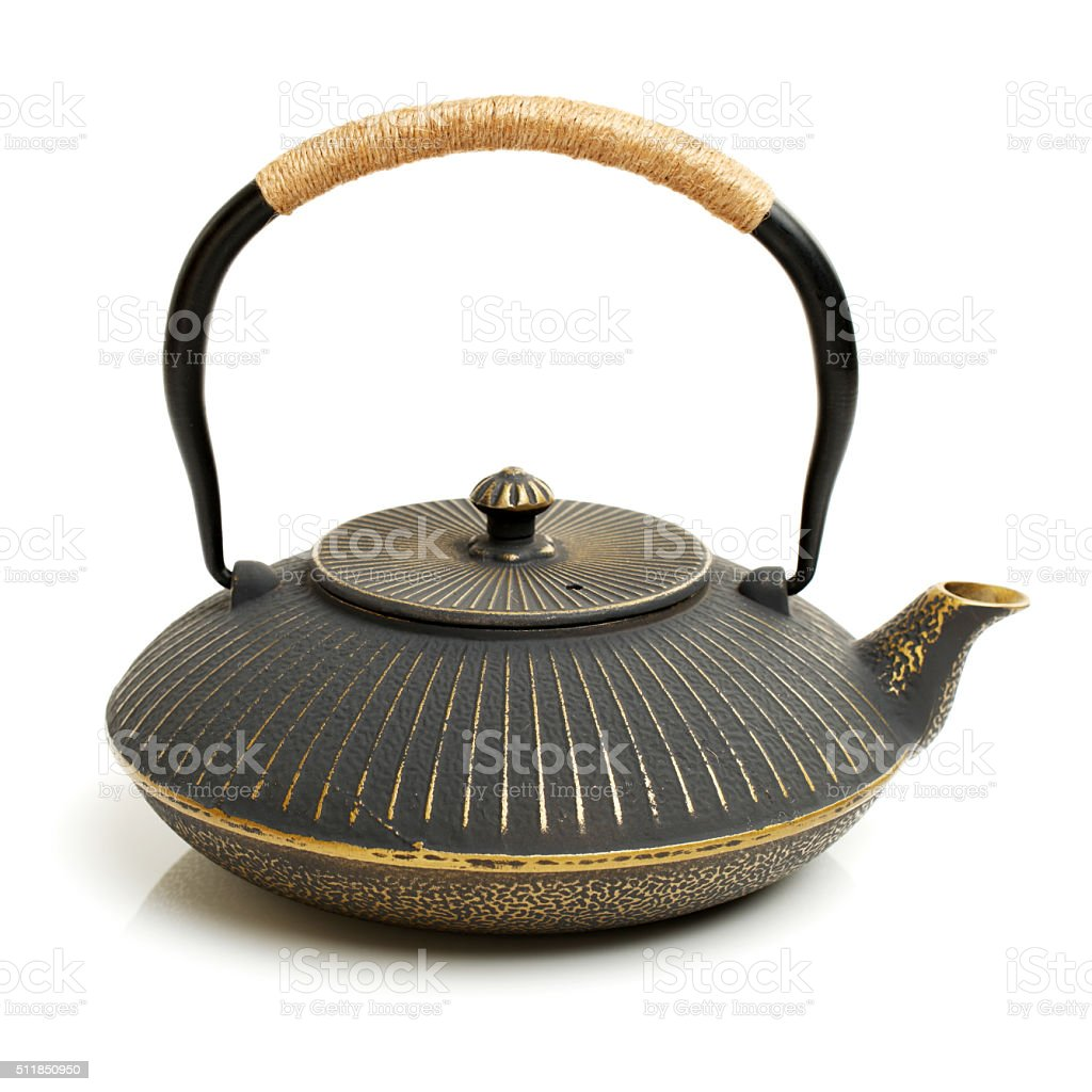 iron japanese teapot stock photo