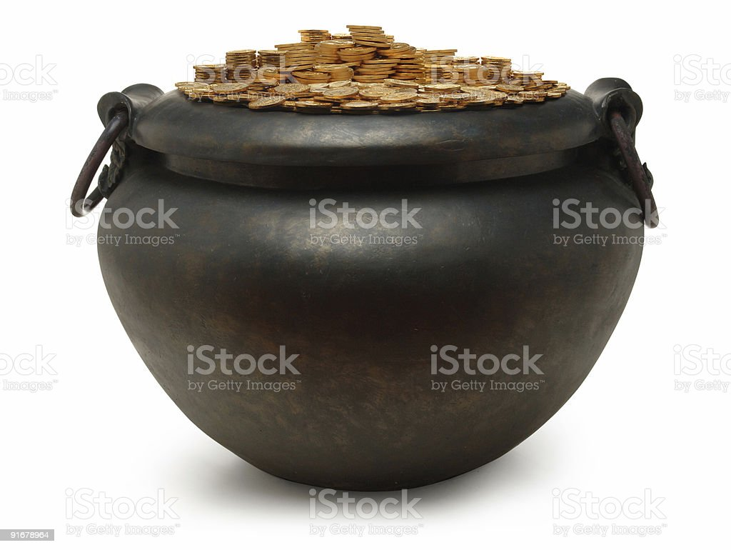 iron kettle filled with gold coins royalty-free stock photo