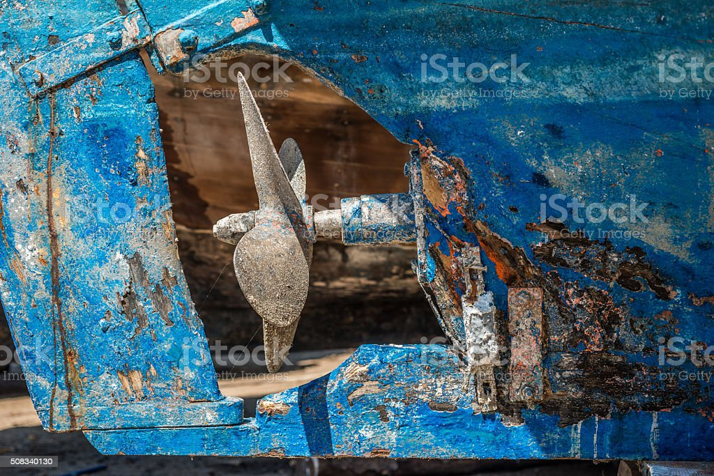 Iron made rusty lead screw stock photo