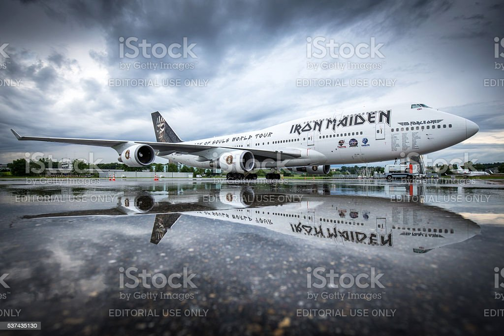 Iron Maiden's 'Ed Force One' stock photo