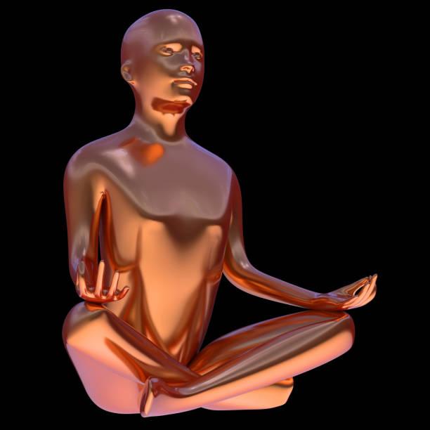 iron mann yoga lotus pose stilisierte figur goldene seitenansicht - achtsamkeit persönlichkeitseigenschaft stock-fotos und bilder