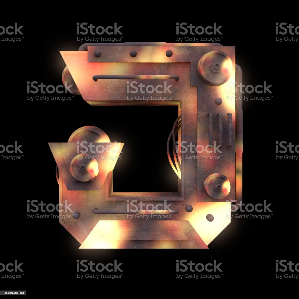 Iron Mechanical Old Rust Hot Metal Letter Isolated On Black