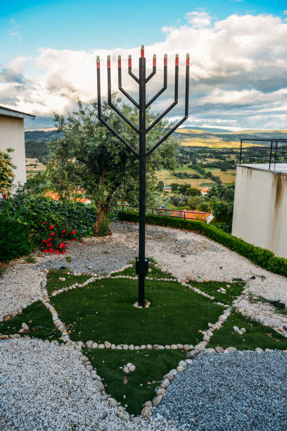 Iron Menorah overlooking the surrounding hills at Beit Eliyahu synagogue, Belmonte, Castelo Branco, Portugal stock photo