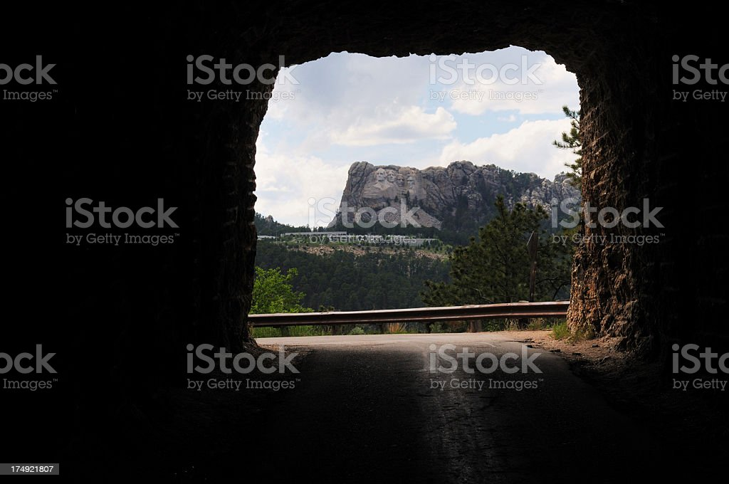 Iron Mountain Road Tunnel View of Mount Rushmore National Memorial royalty-free stock photo