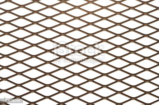 istock Iron net on white sky background 1306290467