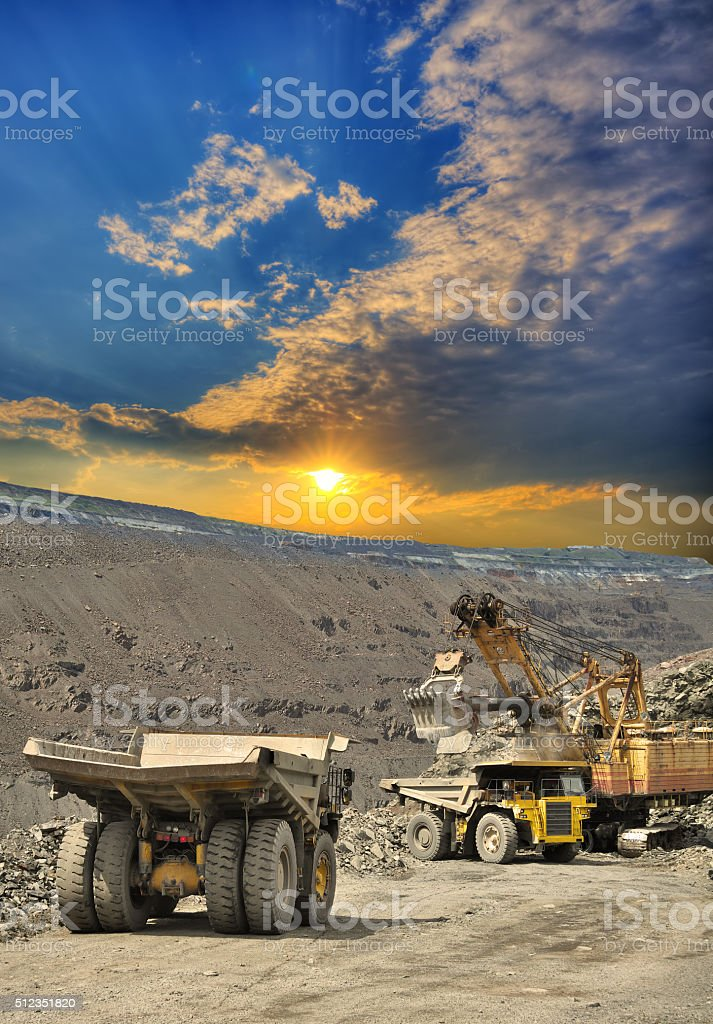 Iron ore opencast mining stock photo