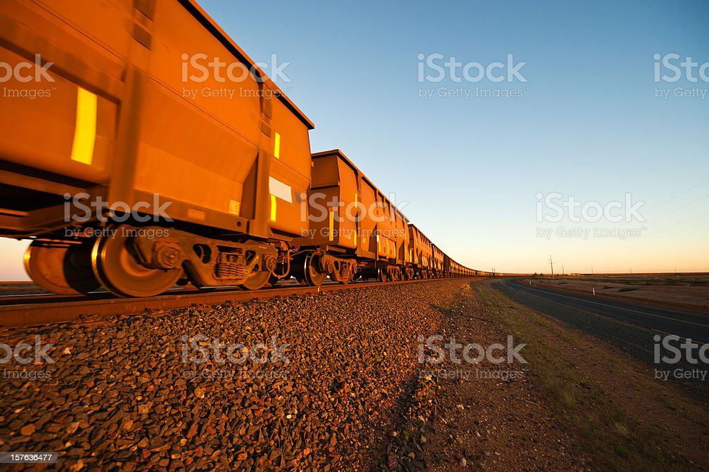 Iron Ore Train Cars close up stock photo