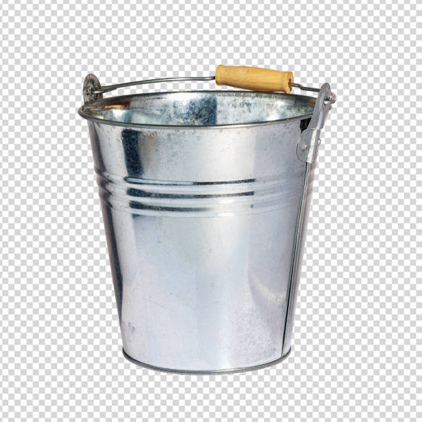 Iron pail or tin bucket. Isolated with Clipping Path. Stock image. stock photo