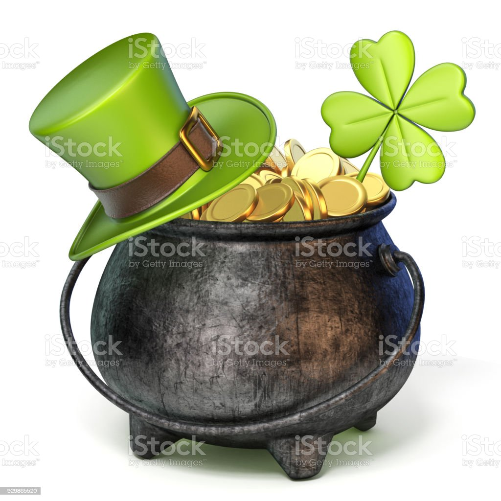 Iron pot full of golden coins, Green St. Patrick's Day hat and clover 3D stock photo