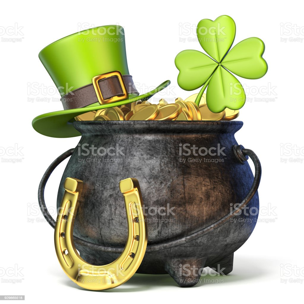 Iron pot full of golden coins, Green St. Patrick's Day hat, clover and horseshoe 3D stock photo