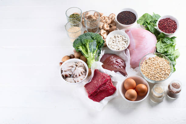 Iron rich foods Iron rich foods. Healthy diet concept with copy space anemia stock pictures, royalty-free photos & images