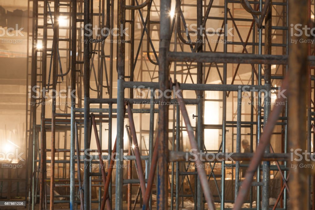 Royalty Free Stucco Construction Home Interior Scaffolding Pictures