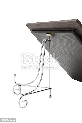 istock Iron stand for a frame on a white background 959229302