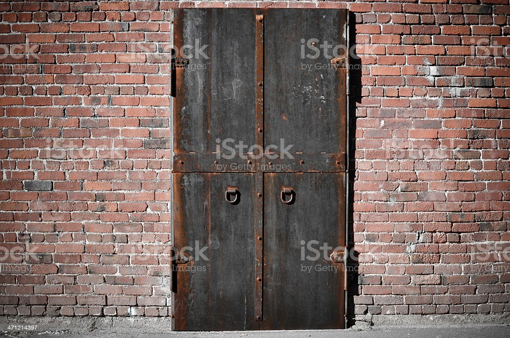 Iron Steel Door Holding back secrets within royalty-free stock photo