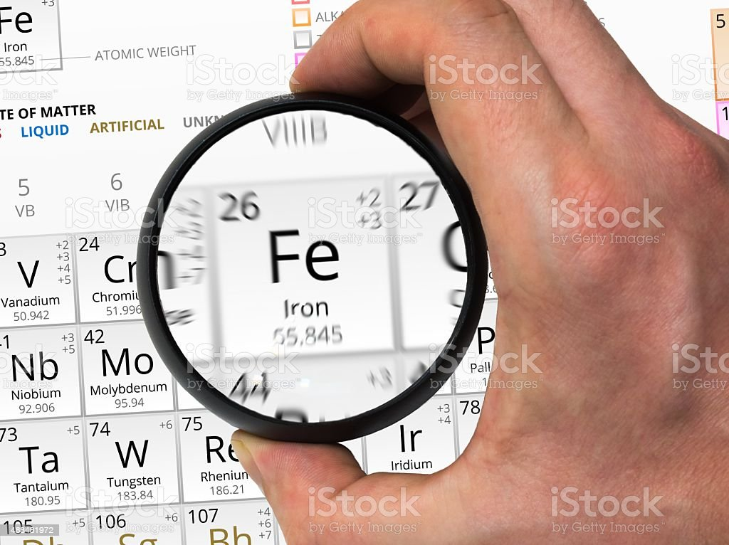 Iron symbol. Element of the periodic table zoomed with magn stock photo