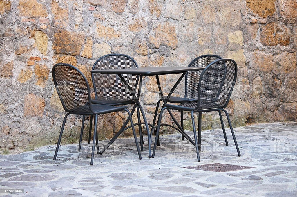 Iron table and chairs royalty-free stock photo