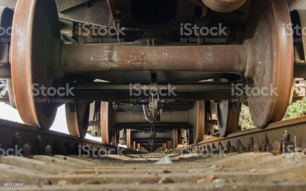 Iron train wheels stock photo