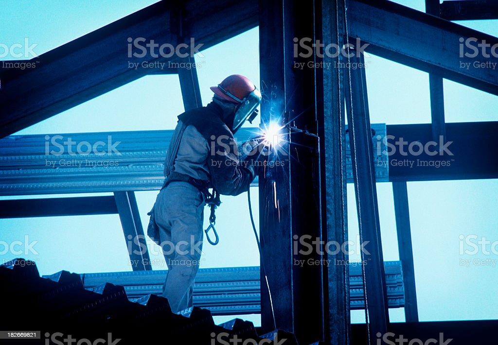 Iron Worker Welding I Beam stock photo